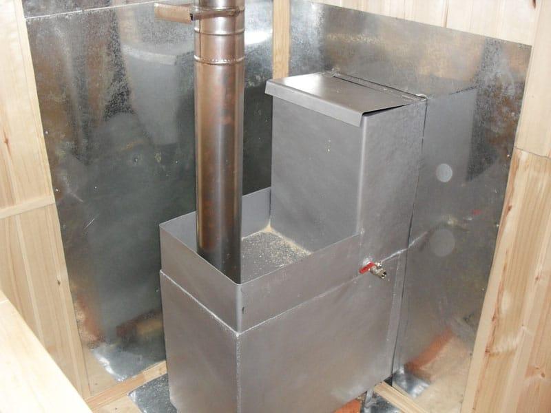 установка печи для бани из трубы