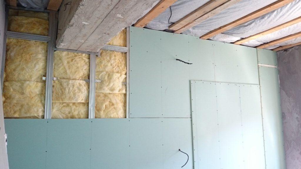 Процесс утепления стен гипсокартоном