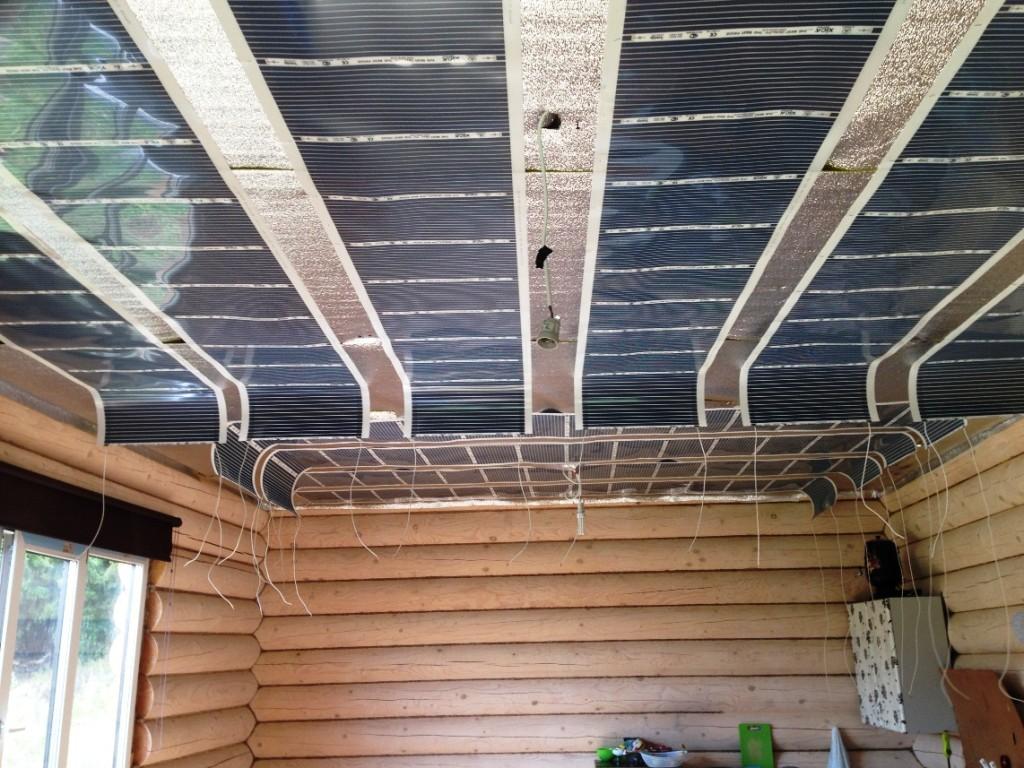 Установка системы обогрева на потолке