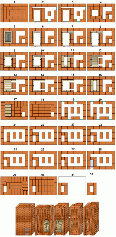 Порядовые схемы кладки печи