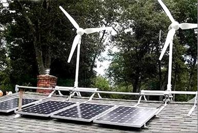 солнечные панели и ветрогенератор