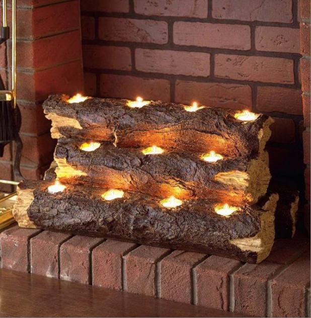 Камин со свечами вариант 5