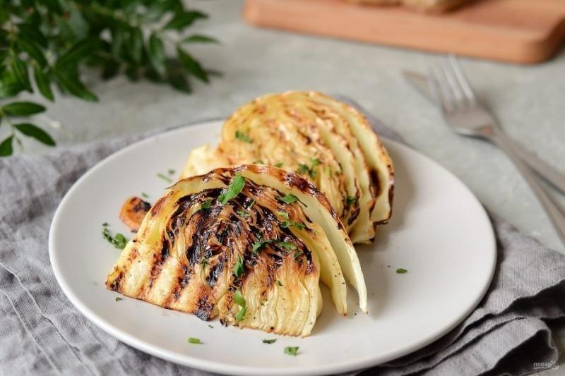 Если капуста, то только на гриле: готово через 7 минут и мелко нарезать не надо