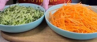 нарезанный огурец и морковь